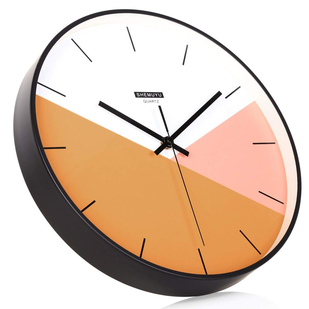 EMIROOM Modern Colorful Wall Clock, 12 inch Silent Non-Ticking Quartz Metal Wall Clock, Battery Operated, Simple Style Decorative for Bedroom, Living Room, Kitchen, School and Office Orange