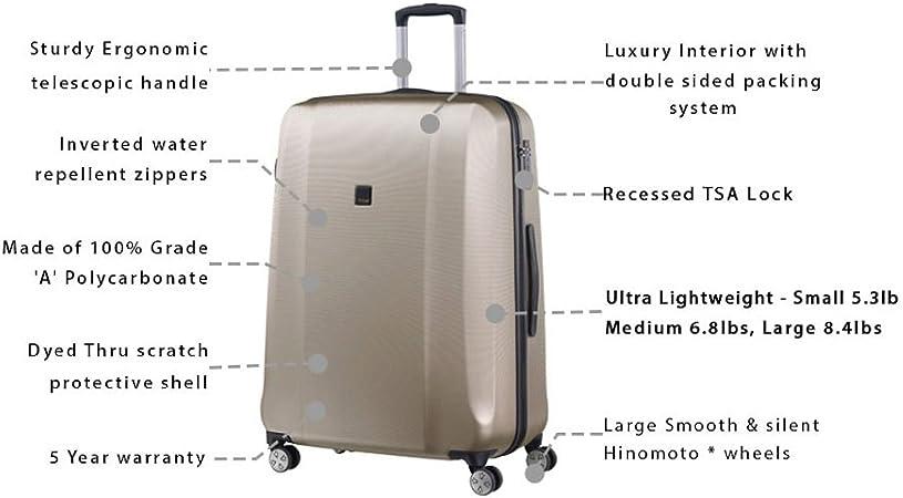 Champagne TITAN Luggage XENON Hardshell Suitcase 3 Piece Set SM Leather Inc Parent Code XENON/_Champagne Luggage