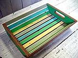 Coastlife Recycled Boat Wood Tray (Bright Coastal Color Scheme) (14''H x 10''W x 3''D)
