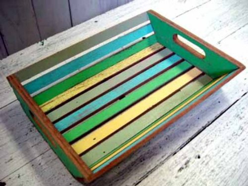 Coastlife Recycled Boat Wood Tray (Bright Coastal Color Scheme) (14''H x 10''W x 3''D)