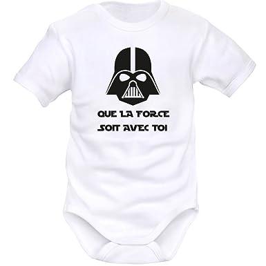 82139acfd177d SIMEDIO Body bébé geek   que la FORCE soit avec toi - Blanc - 1 mois
