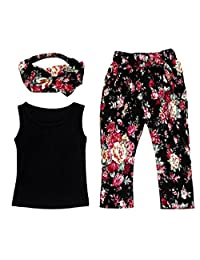 BBire Baby Girls Sleeveless Shirt/Tops + Floral Pants + Hair Band Set Clothes