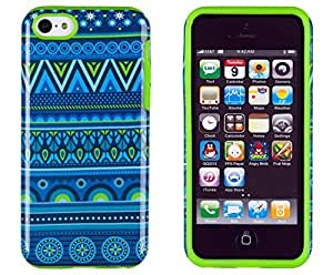 Sunshine Case 2in1 Hybrid High Impact Hard Blue Aztec Tribal Pattern + Lime Green Silicone Case Cover For Apple iPhone 5C + Sunshine Case Screen Cleaner