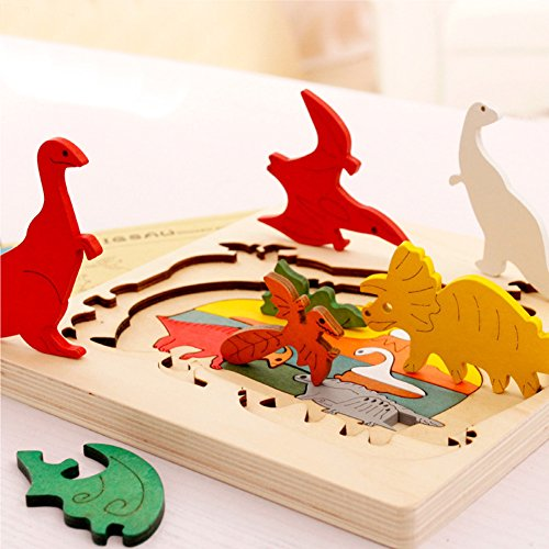 BBLIKE Jigsaw Wooden Puzzles Toy for Kids, 3D Three Layers Difficult Puzzles Dinosaur World Educational Learning Tool Best Birthday Present for Boys (Presents For 5 Year Old Boy)