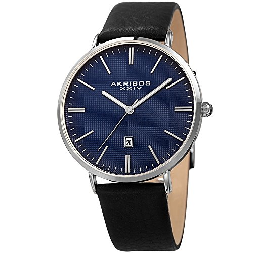Akribos XXIV Men's Silver-Tone Case with Textured Blue Dial on Black Genuine Leather Strap Watch AK935SSBU (Blue Textured Watch Dial)