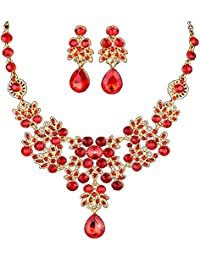 Dxhycc Silver Red Alloy Rhinestone Earrings Crystal Pendant Necklace Bridal Jewelry Set (Red)