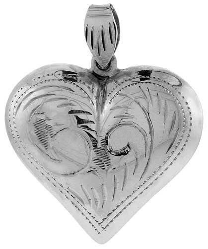 Sterling Silver Engraved Hollow Puffed