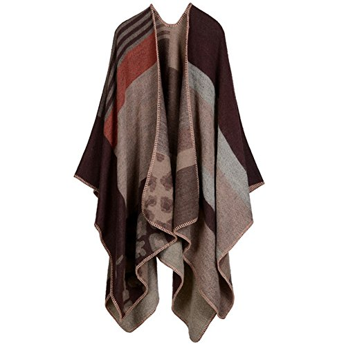 Reversible Ladies Cape (Ladies/Women's Winter Reversible OVERSIZED Blanket Poncho Cape Shawl)