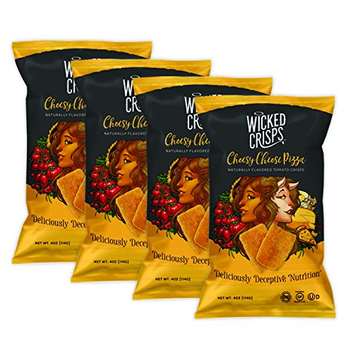 Wicked Crisps, Cheesy Cheese Pizza, Deliciously Deceptive Nutrition, Gourmet Tomato Crisps, No Additives or Preservatives, Gluten Free, Non-GMO, 4oz party-size bag (4 pack) (Low Fat Pizza)