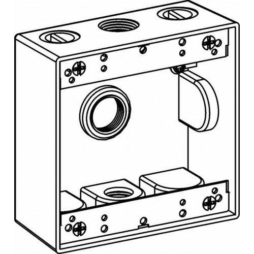 Orbit 2B100-3-BR Electric Box, 2'' Deep 3 Outlets w/1'' Hole Size Weatherproof - 2-Gang - Bronze