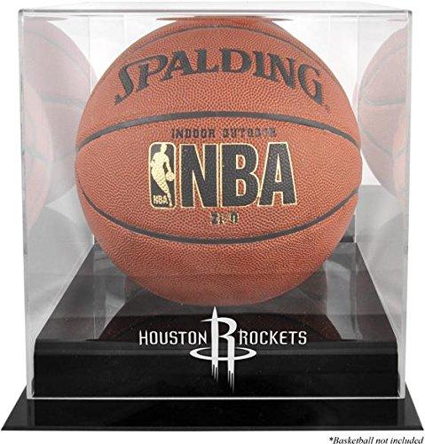 Houston Rockets Black Base Logo Basketball Display Case and Mirror Back