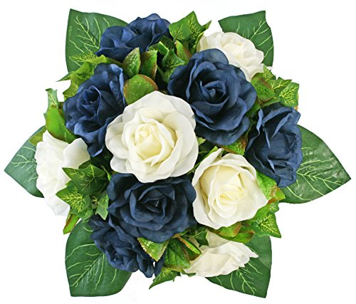 Navy and Ivory Silk Rose Nosegay - Bridal Wedding Bouquet