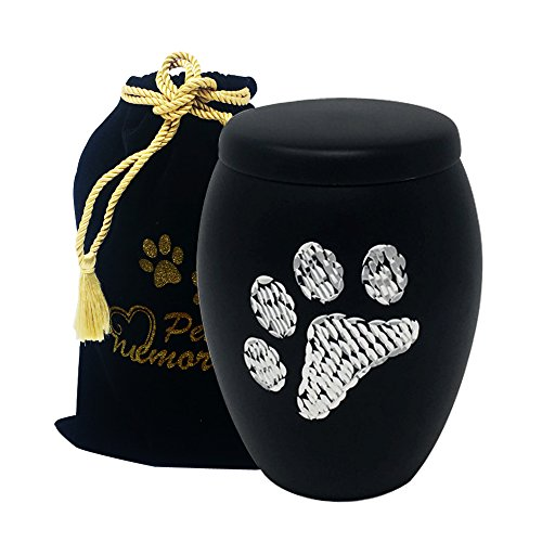 fancy Flourish Paws to Heaven Flat Top Pet Urn - Paw Print Urn with Diamond Paws - Pet Cremation Urn with Free Paw Print (Fancy Flourish)