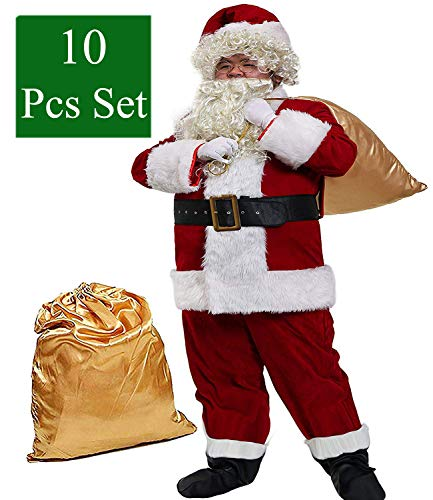 Obosoyo Men's Deluxe Santa Suit 10pc. Christmas Ultra Velvet Adult Santa Claus Costume 2XL -