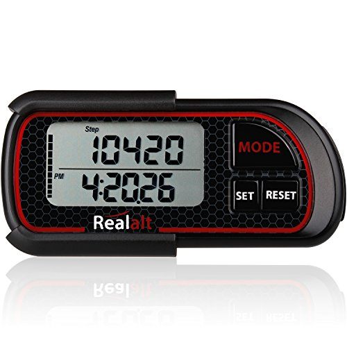 Realalt 3D Pedometer with Clip and Strap PDR-200| Best Pedometer for Walking with 30-Days Memory. Accurately Track Steps, Calories, Distance Miles/Km & Daily Target Monitor for Men & Women (Black)