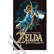 Poster + Hanger: The Legend Of Zelda Poster (36x24 inches) Zelda Breath Of The Wild Game Cover And 1 Set Of Transparent 1art1® Poster Hangers