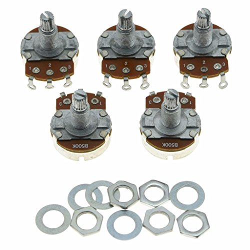 Dopro 5pcs Linear Guitar Pots Volume 500K Electric Guitar Large Pots 24mm Base with Long Split Shaft Guitar Potentiometer B500K