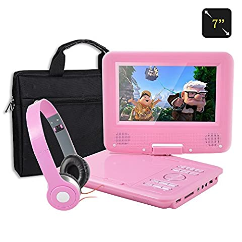 FENGJIDA 7 Inch Portable DVD Player, 270° Swivel Screen, with Matching Headphones and Bag, Kids Gifts -Pink