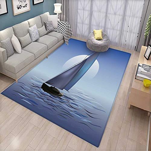 Nautical Bath Mats Carpet Sailing Boat in Moonrise Dramatic Sky Ocean Reflections Wavy Serene Illustration Door Mats for Inside Non Slip Backing Violet Blue