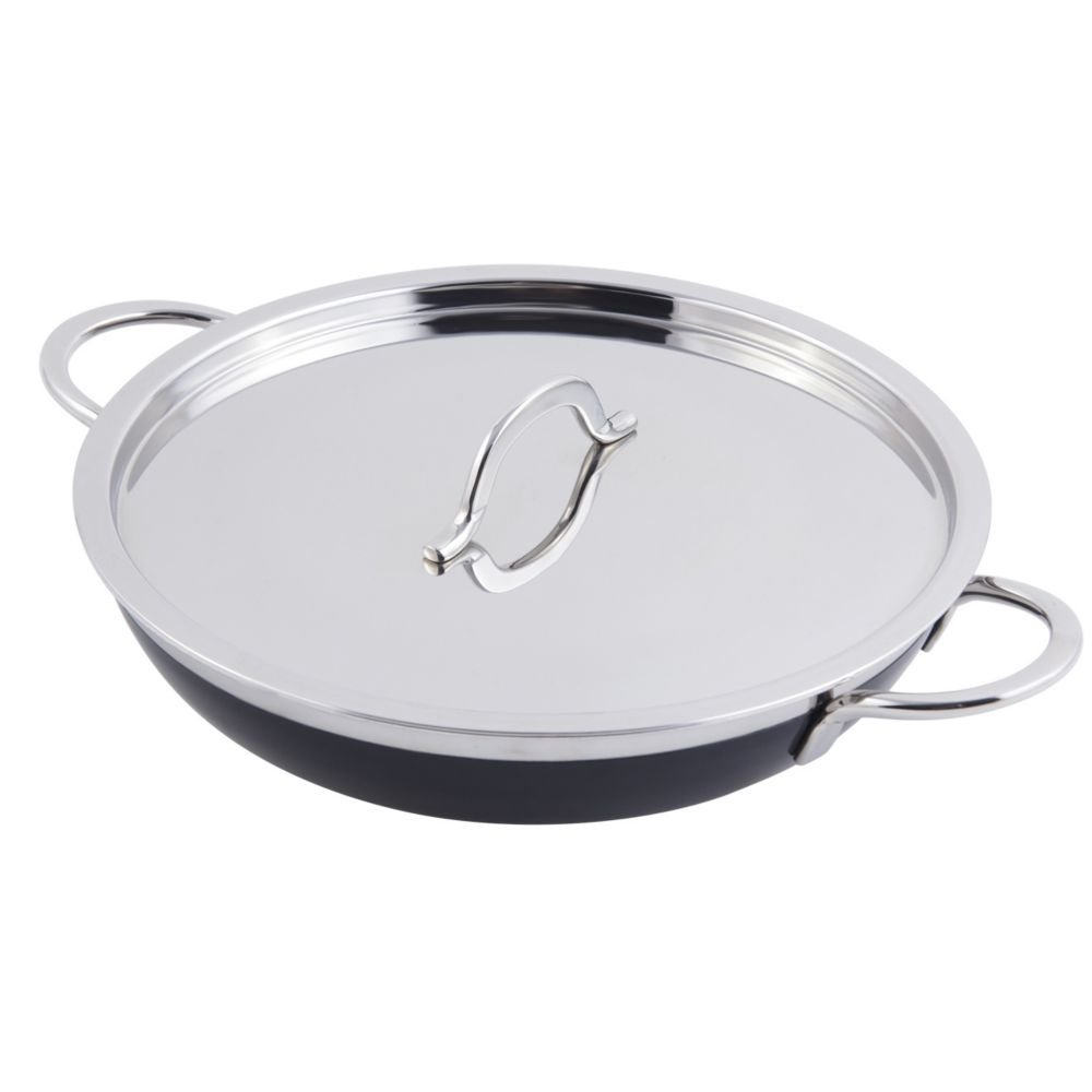 Bon Chef 60306 Stainless Steel/Aluminum Classic Country French Collection Saute Pan/Skillet with Cover and Double Handle, 3-1/8 Quart Capacity, 11-5/8'' Diameter x 2-3/8'' Height, Black