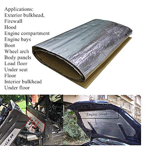 SHINEHOME 236mil Car Sound Deadener Heat Insulation Mat Noise Proof Mat Heat Protector Mat 61 inches x 40 inches 16.68sqft