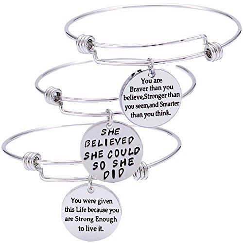 YeeQin Pack of 3 Inspirational Bangle Bracelets, Inspirational Gifts, Inspirational Jewelry, Women Bangles, Strength Believe Confidence Gift (Pack of 3 Mixed Styles)