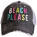 Katydid Beach Please Women's colorful Print Distressed Grey Trucker Hat (Multi)