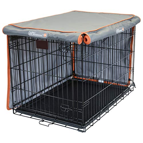 Pet Progressions by K&H Dog Crate Kennel Cover, Tear Resistant, Dark Grey Top and Light Grey Sides - 42 Inch
