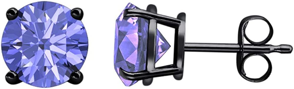 Solitaire Stud Earrings 14K Black Gold Over .925 Sterling Silver 8MM tusakha 4.00 CT Round Cut Tanzanite