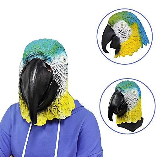 Latex Animal Parrot Bird Head Mask Multicoloured Fancy Dress Carnival Mask Halloween Adult Costume Accessory -