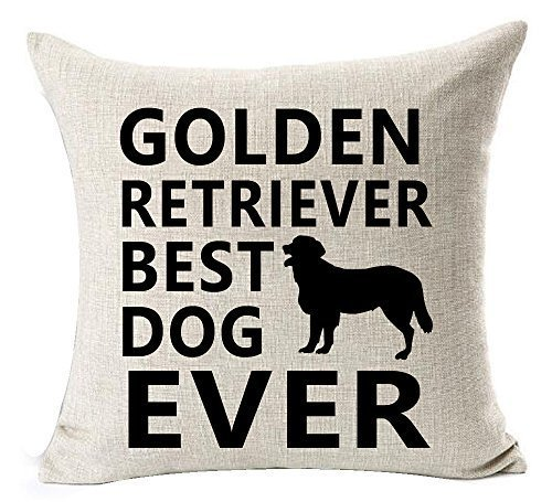 Price comparison product image Best Dog Lover Gifts Nordic Warm Sweet Funny Sayings Golden Retriever Best Dog Ever Cotton Linen Throw Pillow Case Cushion Cover NEW Home Decorative Square 18X18 Inches