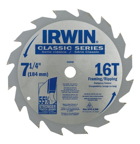 IRWIN Tools Classic Series Carbide Corded Circular Saw Blades, 7 1/4-inch, 16T, .087-inch Kerf (15030) ()