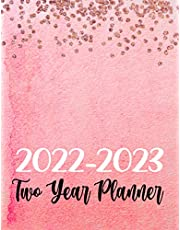 2022-2023 Two Year Planner - Pretty Pink & Gold Glitter Design, 24 Months at a Glance Monthly Organizer & Agenda: Large 2 Year Monthly Weekly & Daily Calendar Planner with Notes/Goals & Contacts (Stylish Girly Marble Style Cover)