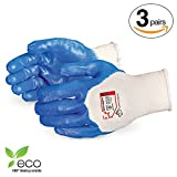 Superior Gardening Gloves 3-Pack for Landscaping and Yard Work - Nitrile Coated, Puncture Resistant Gloves and Earth Friendly (100% Biodegradable) S15NT– Size Medium