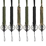 Bememo 6 Pieces Paracord Lanyard Keychain Utility Necklace Rope Cord Wrist Strap Parachute Cellphone Camera ID Holders for Outdoor Hiking Camping