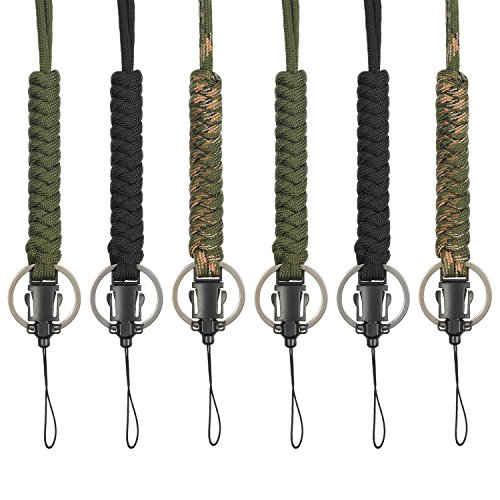Wrist Cord (Bememo 6 Pack Paracord Lanyard Keychain Utility Necklace Rope Cord Wrist Strap Parachute Cellphone Camera ID Holders for Outdoor Hiking Camping)