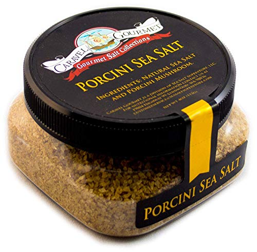 Gourmet Porcini Sea Salt - All-Natural Sea Salt Blended with Premium Dried Porcini Mushrooms - No Gluten, No MSG, Non-GMO - Cooking and Finishing Salt - 4 oz. Stackable Jar