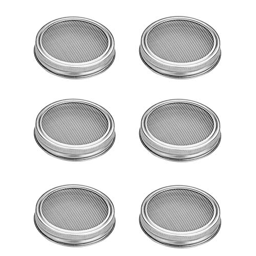 Stainless Steel Sprouting Lids for Wide Mason Jars, Great for Making Organic Sprout Seeds, Pack 6 (Silver) by G.a HOMEFAVOR