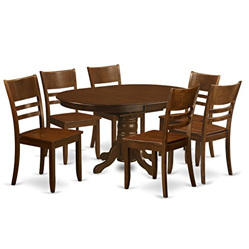 East West Furniture KELY7-ESP-W 7 Piece Kenley Dining Table With One 18