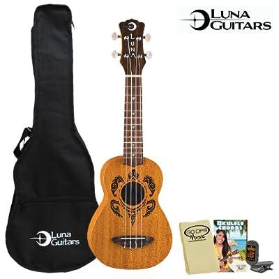 Luna Guitars Honu Soprano (UKE-HONU) Ukulele Kit - Includes: Gig Bag, Quick Start Chord Guide, Cloth & Tuner