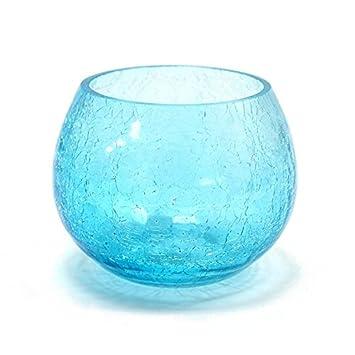 craquelé Bougeoir pour bougie votive/thé lumière (Bleu turquoise ...