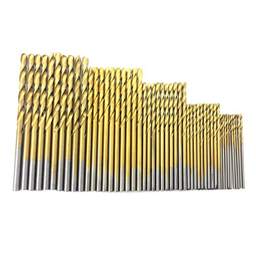 PANOVO 50pcs 1.0/1.5/2.0/2.5/3.0mm High Speed Steel with Titanium Coated Power Hand Drill Tools Twist Bits Set For Woodwork