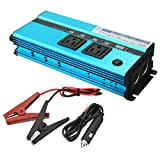 450 watt power inverter - uxcell 1000W Peak Power Car Power Inverter 12VDC to 2 110VAC US Outlets 4 2.4A USB Charging Ports Adapter Voltage LED Display Blue