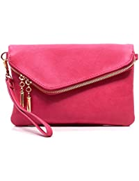 Fashion Evening Envelope Fold Over Clutch Wristlet Purse Cross Body Bag