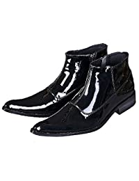 US Size 5-12 New Comfort Black Patent Leather Mens Dress Zip Ankle Boots Shoes