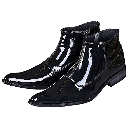 Cover Plus New Comfort Black Patent Leather Mens Formal Dress Suit Zipper High Top Ankle Boots Shoes (US Size 12)
