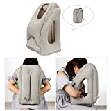Airplane Pillows for Traveling, Comroll Travel Pillow Inflatable Nap Pillow for Fully Head, Chin & Neck Support, Soft PVC Flocking Flight Pillow with Patented Air Nozzles Easy Inflating Travel Pillows