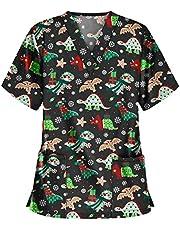 Msaikric Prints Scrub Tops Women Christmas Nurse Uniform Tops V-Neck Short Sleeve T-Shirt Casual Tunic Blouse with Pocket