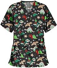 Msaikric Prints Scrub Tops Women Christmas Nurse Uniform Tops V-Neck Short Sleeve T-Shirt Casual Tunic Blouse