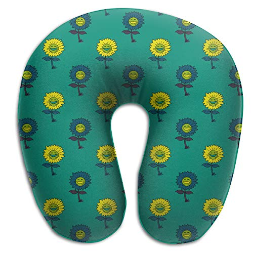 Chael Rhy U-Shaped Memory Foam Travel Neck Pillow Green Sunflower Smiley Face U-Shaped Pillow Neck Pillow U Shaped Cushion Throw Pillow ()